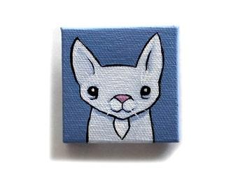 Cat Painting Miniature - Original Pet Animal Tiny Wall Art Acrylic on Mini Canvas 2 x 2 Inches by Karen Watkins - White Kitty Art