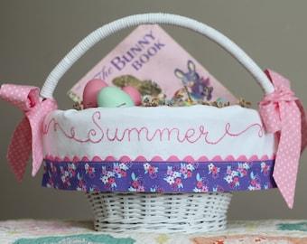 Easter Basket Liner, Personalized Easter Basket, fits Pottery Barn Kids Baskets, Hand Embroidered Monogrammed, Purple Floral