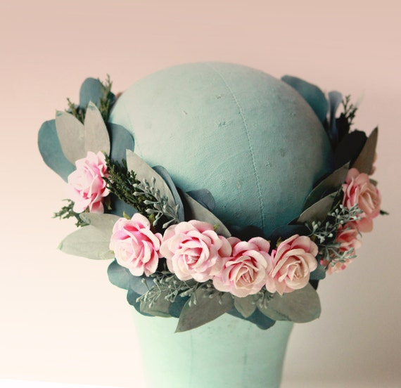 Eucalyptus rose crown, Floral wreath with greenery, natural flower head wreath, Bridal hair crown, Woodland flower wreath, hair crown