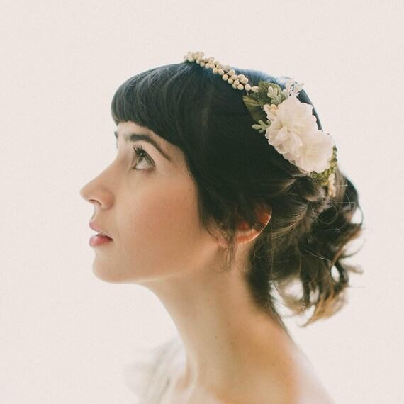 Vintage replica wax flower crown, Wax bloom circlet, Bridal head piece, Wedding hair accessory, Ivory flower headpiece, Antique inspired