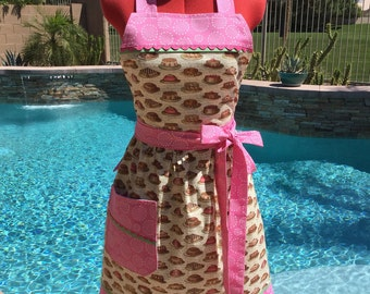 Tea Cakes Sassy Apron, Womens Aprons, Misses and Plus Sizes,  Retro Style with Gathered Waist and Towel Loop, Kitchen Apron
