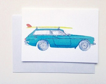 Retro car card - Volvo P1800 1970s retro vintage car surf greeting card - Australian turquoise retro surfer Card - A6 watercolour print