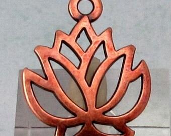 Lotus Charm, Antique Copper, 4 Pieces, AC199