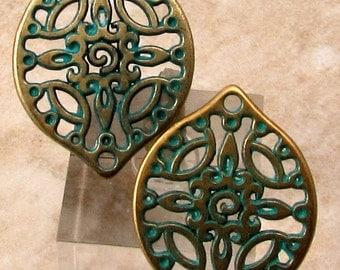 Filigree Boho Drop, Antique Brass & Green Patina, 2 Pieces, AB158