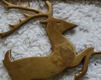 Brass Reindeer Trivet, Hot Plate, Hot Pan Holder, Christmas Deer, Doe, Antlers, Table Decor, Rudolph, Santa's Reindeer, Holiday Decor