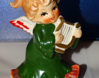 Vintage Lefton, 2543, Christmas Angel, Harp, Holly Berry, Christmas, Ceramic Figurine, 4 inches, Made in Japan, Lefton Circa 1950's
