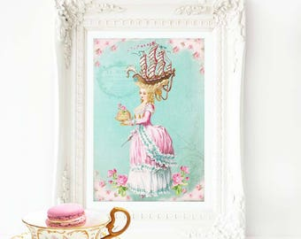 Marie Antoinette, let them eat cake, with a sailing ship coiffure, French vintage art print, A4 giclee