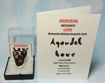 AGOUDAL Meteorite LOVE And Agoudal Meteorite Writing Souvenir Card Natural Heart Shape Iron Outer Space Rock Meteorite Found 2000 Morocco