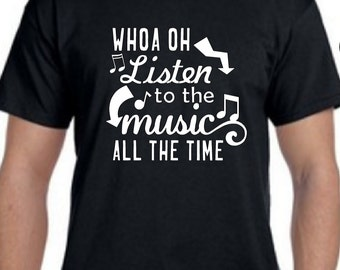 Listen to the Music -Doobie Brothers inspired Unisex Black Tshirt
