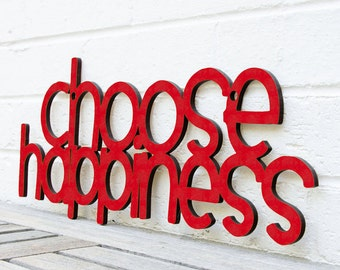 Happiness Quote Sign, Inspiring Wood Sign, Choose Happiness Sign, Motivational Plaque, Funky Wood Sign, Wood Sign Decor, Wood Word Sign