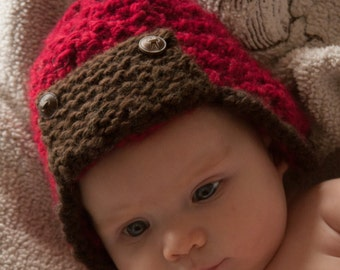 Red and Brown Aviator Hat for Newborns