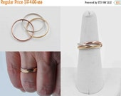 On hold for Susan**Vintage 9CT Gold Trinity Band Ring, Triple Band, Rose, White, & Yellow Gold, Russian Wedding, Rolling, Size 7, 1988 #b808