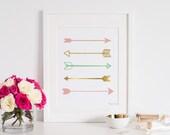 Arrows Wall Decor, Arrow Art Print, Pink Gold Arrow Art, Baby Shower Gift, Digital Download, Baby Shower Decor, Nursery Arrow Printable