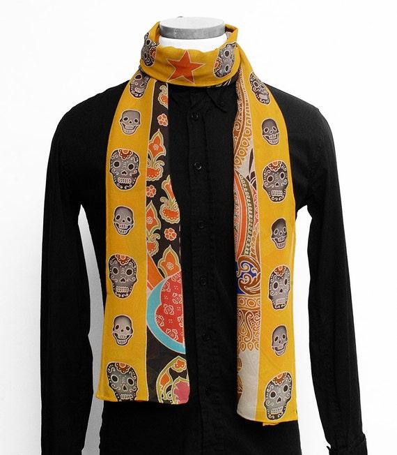 Handpainted Silk Scarf, Mens scarf, Buddha Scarf, Hand made scarf, Ganesha scarf, Unique Scarf, Handmade, Skull scarf, Silk neck scarf