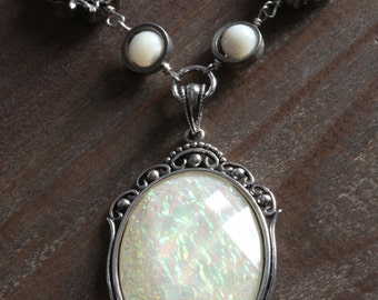 NEW Mother of pearl necklace with white opalescent cameo pendant, Silver Tone, Neo Victorian Style