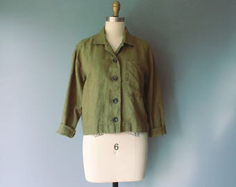vintage khaki linen jacket / green minimalist cropped top / button down olive jacket / small