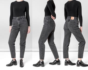 LEVIS high WAIST black JEANS vintage MoM 90s 551 relaxed fit tapered leg / Size 10 / 29 30 waist / better Stay together