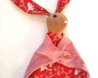 Baby Bunny Blanket , All Natural Materials, Red with Birds