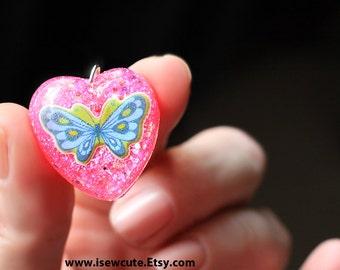 butterfly necklace, pink heart necklace, butterfly pendant, blue butterfly jewelry, resin glitter heart, handmade resin jewelry by isewcute