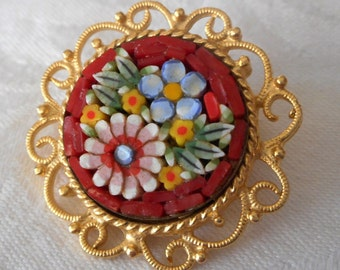 Small VINTAGE Red Mosaic Tile Italy Jewelry Brooch Pin
