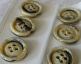 Set of 6 VINTAGE Thick Marbled Tan Plastic BUTTONS