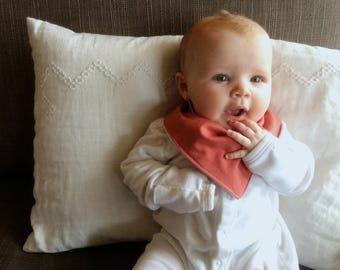 Bandana Bib | Pale Orange Baby Bib | Solid Color | Minimal Baby | Baby Girl Baby Boy | Drool Bib | Kerchief Bib | Simple Minimal Baby