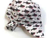 UB2 JAWS a shark-y, bite-y, stripey, beach-y baby BOY newsboy sun hat in black, white & red sharks and pinstripes, by The Urban Baby Bonnet