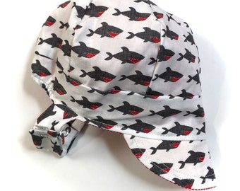 UB2 JAWS a shark-y, bite-y, stripey, beach-y baby BOY newsboy sun hat in black, white & red sharks and pinstripes, by The Urban Baby Bonnet