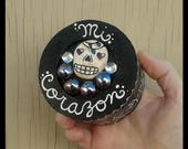 Day of the Dead Sugar Skull Keepsake Jewelry Trinket Box Hand Painted Corazon Heart Dia De Los Muertos DOTD Skull Death Mexican Folk Art