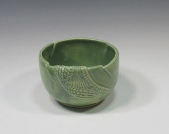 Ceramic Soup Bowl - pottery dip bowl - green bowl - soup bowl - ice cream bowl - noodle bowl - rice bowl - chili bowl - soup mug - dip bowl