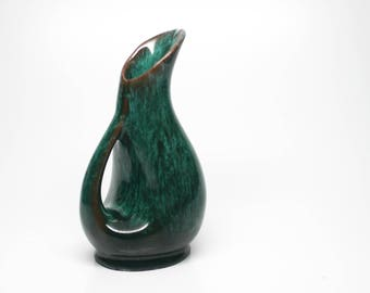Evangeline Canada Green Vase Pitcher #992 Drip Glaze - Maple Syrup Pitcher - Flower Vase - Creamer