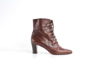 size 8.5  | Vintage Bally Leather Ankle Boots | Brown Leather Lace Up Boots | 39