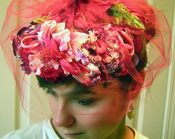 Vintage Veil Hat - Pink Floral with Tulle Net Marche Exclusive Easter or Wedding 50s / 60s