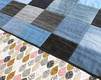 Modern Rustic Baby Crib Quilt from Recycled Denim - Leaf Backing - Black, Gray, Cream, Pink