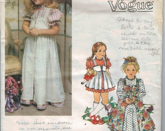 1970s Vintage Sewing Pattern Little Vogue 1825 Girls High Waisted Dress with Overdress Peasant Size 2 Breast 21 70s UNCUT