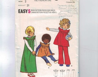 1970s Vintage Sewing Pattern Butterick 6868 Girls Easy Ruffled Jumper Dress and Pants Size 2 Breast 21 70s UNCUT