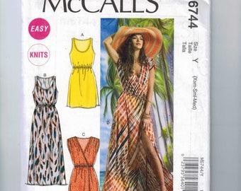 Misses Sewing Pattern McCalls M6744 6744 Easy Knit Summer Maxi Mini Surplice Neckline Dress Size 4 6 8 10 12 14 Bust 30 31 32 34 36 UNCUT