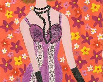 That girl, she was no wallflower. Original painting by Vivienne Strauss.