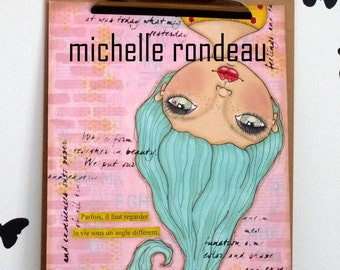 Original Mixed Media Girl Painting Art Journal French Quote