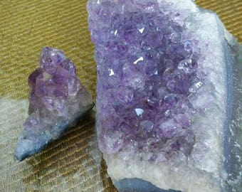 Amythyst crystals, large chunk of crystal cut geode & small stone cluster - raw purple 4 x 2 and 1 x 1 stones