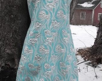 Mod S M 60s Lurex Fringe Dress Brocade Embossed Atelier Gayle Kirkpatrick Vintage 1960s Space Age