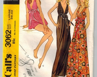 Vintage 70's Misses Nightgown and Panties Sewing Pattern Bust 38 40 High Waisted Plunging Neck 2 Lengths Gathered Shoulders Elastic Panties