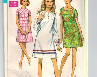 Vintage 60s A-line Yoked Summer Mini Dress Sewing Pattern Sz 9 Bust 32 Collarless Set in Sleeves Round or Low Neckline Lace Edge Ribbon Trim