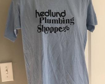 Vintage Hedlund Plumbing Shoppe t-shirt Jerzees 50/50