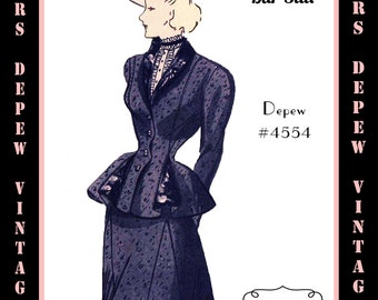 Vintage Sewing Pattern 1940's Ladies' Bar Suit in Any Size # 4554 Draft at Home Pattern - PLUS Size Included -INSTANT DOWNLOAD-