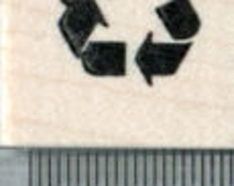 Tiny Recycling Rubber Stamp, Recycle Symbol A32307 Wood Mounted