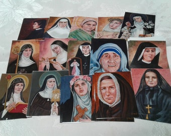 Saint Memory Concentration Game 15 Images 30 Card Set Catholic Children's Card Game Great Christmas Gift Idea Stocking Stuffer