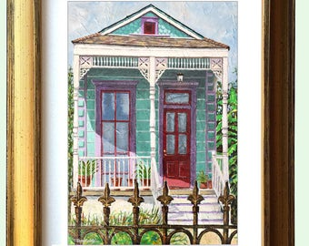 "New Orleans Gold Framed Shotgun House Art ""Tremé Shotgun House"" 10.25 x 12.25"" and 13.25x16.25"" Matted Print Signed and Numbered"