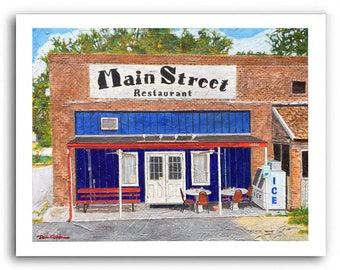 """Louisiana Cafe Restaurant Art """"Main Street"""" Print Signed and Numbered"""