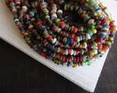 Rondell lampwork glass beads, small spacer discs, mix matte and glossy,  indonesian glass beads  - 20 inches strand - 6CB11